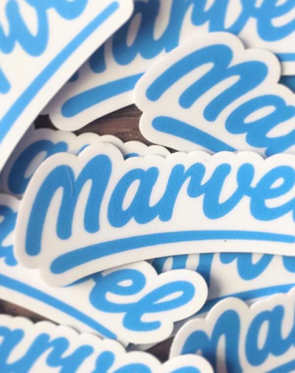Marvel logo stickers