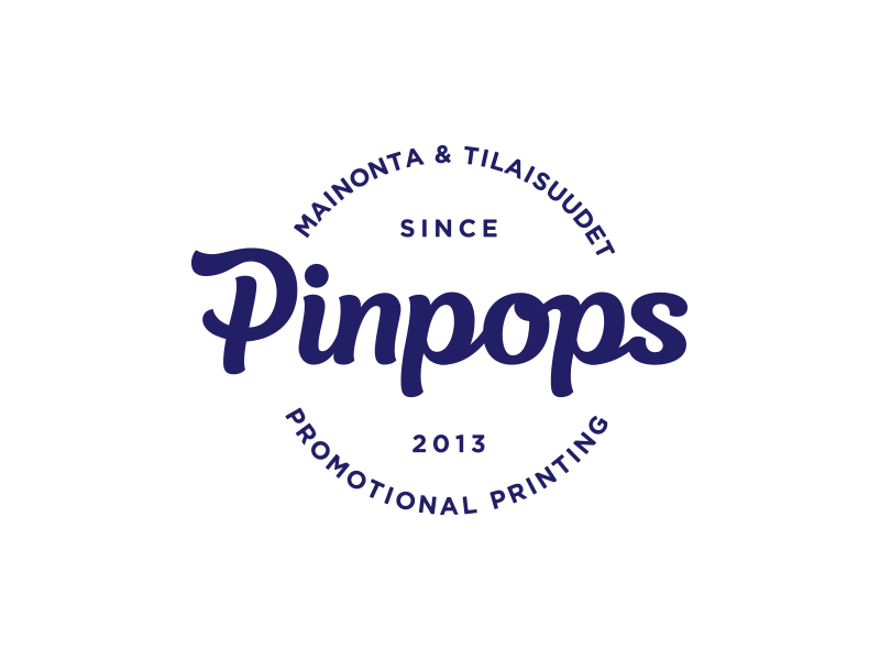 Pinpops logotype badge lettering