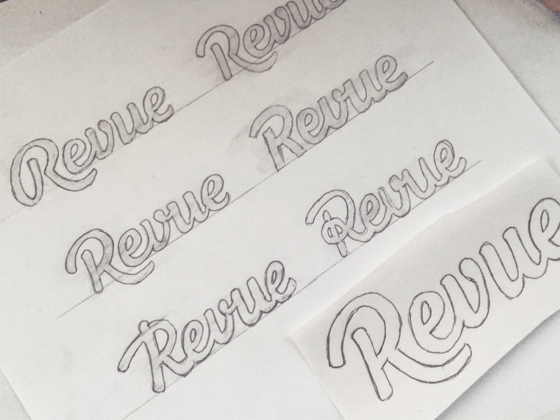 Revue sketches on paper wordmark